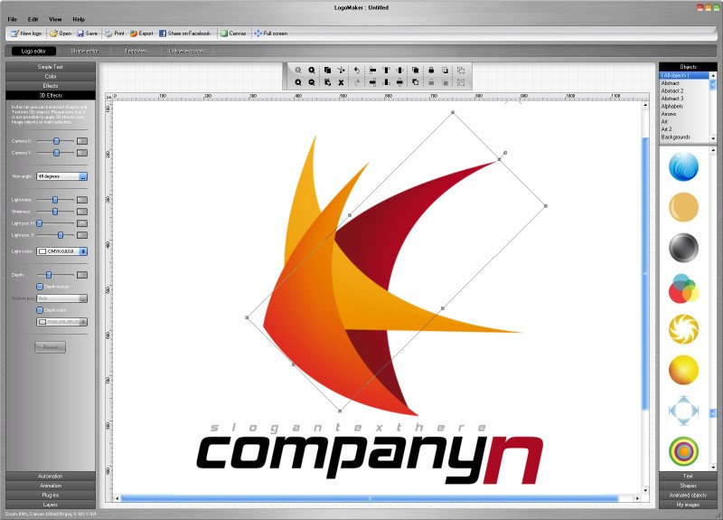 Design your own logo using 3300 logo templates and over 10000 object and shapes.